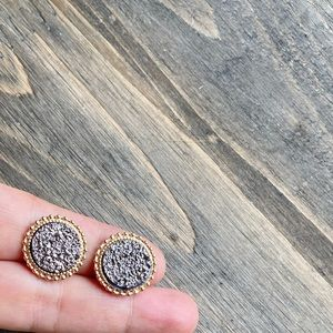 BIG GOLD DRUZZY COIN STATEMENT STUDS EARRINGS SET